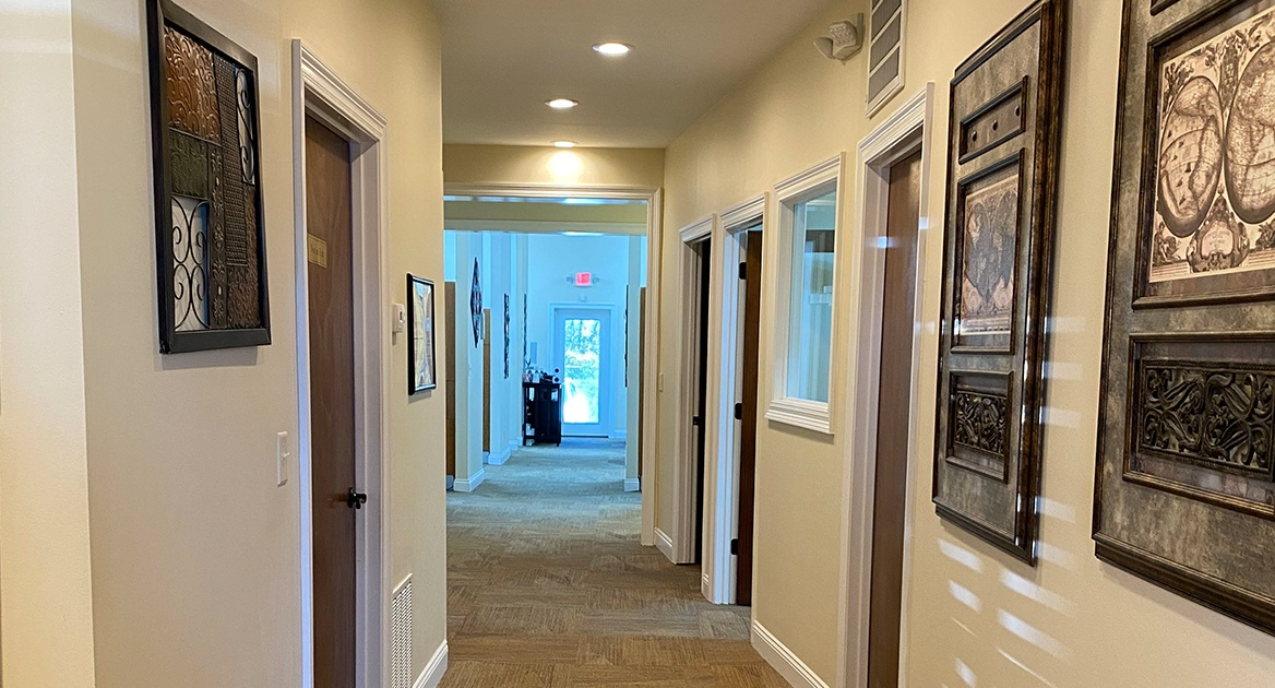 Hallway to dental treatment rooms